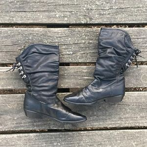 Vintage Clicks Leather Slouch Boots Back Lace